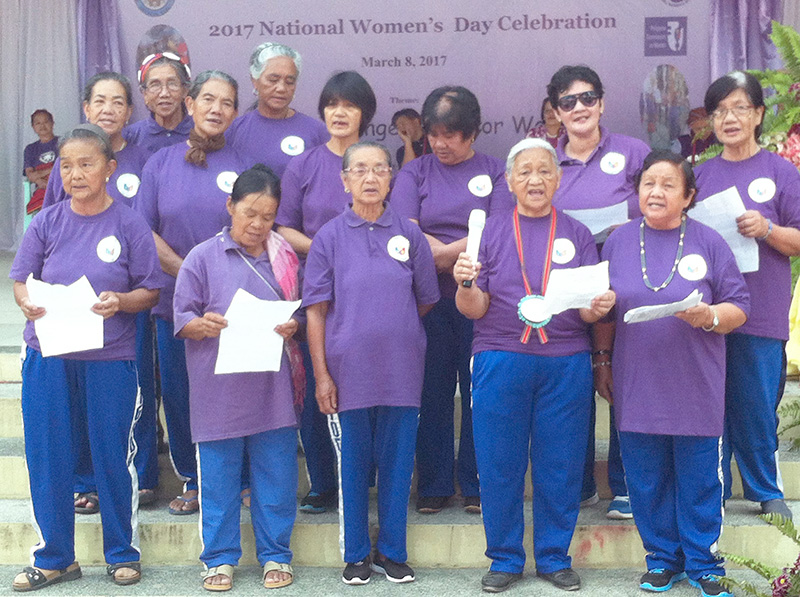 WE MAKE CHANGE WORK FOR WOMEN. Members of the Bontoc Women's Brigade in their song number during the Women's Day celebration in Bontoc Mountain Province held March 8, 2017. Ferdie Cariño Castañeda