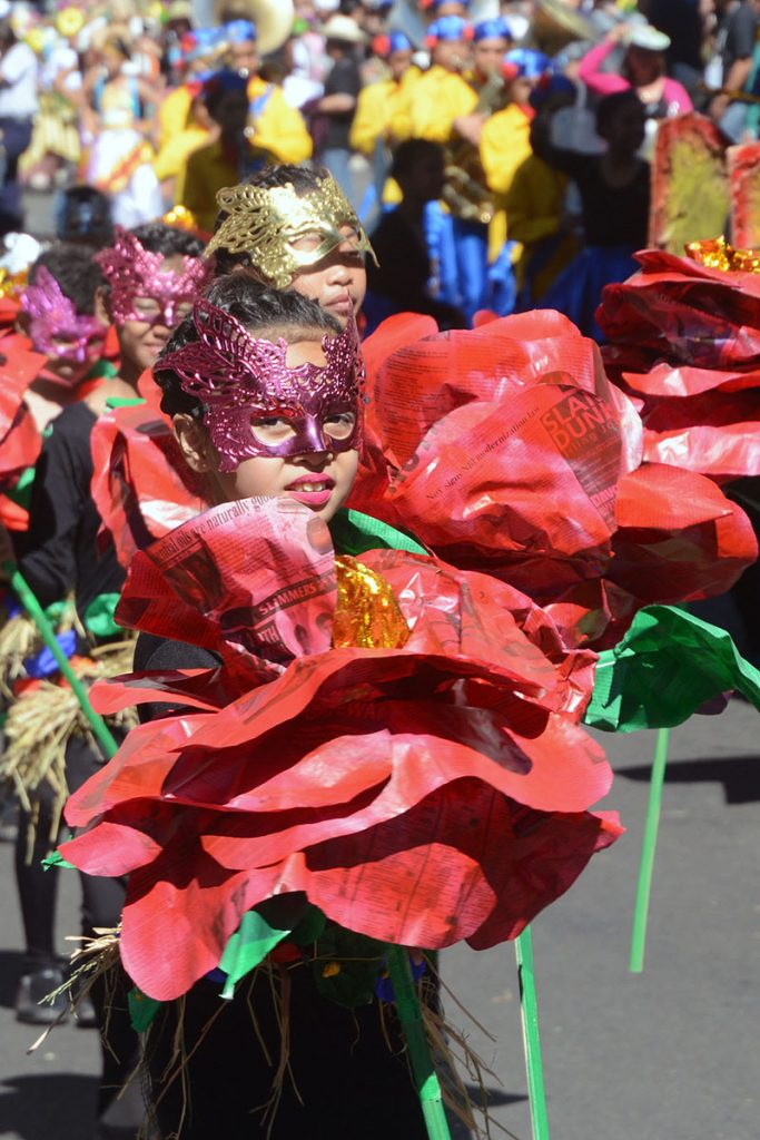 A student from Santa Maria, Bulacan with recycled newspapers as props joined the 22nd edition of the Baguio Flower Festival or the Panagbenga 2017 Grand Street Dancing in Baguio City during the weekend. RMC PIA-CAR