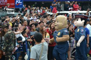 BATO. Even with the known celebrity guests, PNP chief Ronald Dela Rosa's masscot was also a crowd drawer during the Panagbenga 2017 Grand Float parade last February 26. Photo by Carlito Dar - PIA CAR.