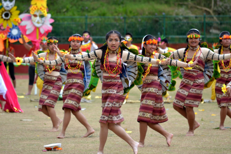 IGOROTAK. Young ladies of the Baguio City National High School in their Cordillera inspired theme performance. Photo by: Carlito Dar - PIA CAR.