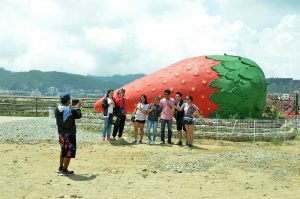 BERRY ATTRACTION. Tourists can't resist taking have a souvenir of this giant replica of strawberry at La Trinidad, Benguet. The municipality celebrates strawberry festival yearly in the month of March. (March 19, 2017) JOSEPH MANZANO.