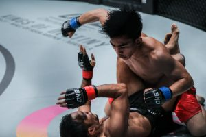 DAMAGE CONTROL. Joshua Pacio carved out a nerve-wracking, hard-fought split decision victory over former champion Dejdamrong Sor Amnuaysirichoke at ONE: WARRIOR KINGDOM last March 11, 2017 inside a jampacked Impact Arena in Bangkok, Thailand to avoid a losing streak and improve his MMA career record to nine wins against a single loss. (March 19, 2017) ARMANDO M. BOLISLIS, photo by ONE Championship.