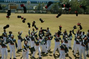 Newly commissioned Second Lieutenants and Ensigns who are members of the Philippine Military Academy Sanggalang ay Lakas at Buhay na Alay Para sa Kalayaan ng Inang Bayan (SALAKNIB), Class of 2017 throw their shaku during their graduation rites at the Fort Del Pilar in Baguio City last March 19, 2017. (March 24, 2017) REDJIE MELVIC CAWIS, PIA-CAR.