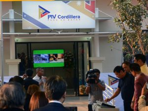 President Rodrigo Roa Duterte leads the ceremonial switch-on of the People's Television (PTV) Cordillera Hub in at the PIA-CAR Compound in Lualhati, Baguio City on March 11, 2017. Also present in the event were Baguio City Mayor Mauricio Domogan, PTV Chief Executive and General Manager Dino Apolonio, Presidential Legal Counsel Salvador Panelo, and Presidential Communications Secretary Martin Andanar. President Rodrigo Duterte announces he will give the government-funded TV station a free hand in improving its programs and since PTV4 is funded by the taxes from the people, it should also provide services that are worthy of the people's taxes. President Duterte said he is ready to give government media facilities freedom as he vowed he will never use the state-run Peoples Television Network (PTV) for his personal agenda. (March 17, 2017) REDJIE MELVIC CAWIS, PIA-CAR.