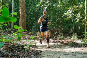 ANOTHER FEATHER IN THE HAT. Sandi Menchi Abahan claimed the women's 50-kilometer title of the 2017 Sungai Menyala Forest Trail (SMFT) last April 9, 2017 in Hutan Simpan Sungai Menyala, Malaysia to add another hardware to her growing collection. MARK VICTOR PASAGOY, contributed photo.