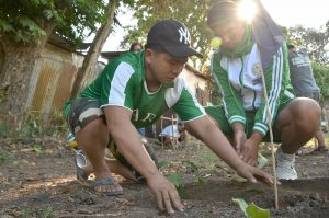 GREEN WARRIORS TOO. Assistant Camp Director Joeferino Guinumtad and volleyball athlete R-jay Bansulay take a break from their training last Friday by planting one of the tree seedlings in an area within the Antique National School where Team Cordillera is currently billeted. The activity is part of the clean and green initiative of the Palarong Pambansa team and in compliance with the National GreeningProgram. (April 23, 2016) Georaloy I. Palao-ay