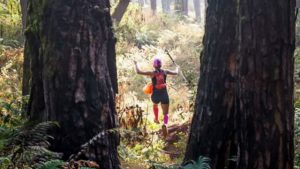 SMELL OF PINE. Manila runner Laarni Burgos tests the pine tree filled Old Spanish Trail, a part of the 2017 Lang-ay Run 21k route last April 9, 2017. (April 15, 2017) JENNIFER C. GUEVARRA, Photo by WILFREDO DAOAS.
