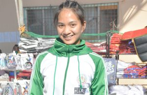FIRST STRIKE. Eza Rai C. Yalong of the University of Baguio once again struck the first gold for TeamCordillera in this year's Palarong Pambansa in Antique, Western Visayas. Yalong also garnered two bronze medals. Marvin John Flores