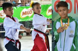 GOLDEN RESULTS. The taekwondo jin tandem of Gabriel Ivan S. Inacay and Khyla Kreanzzel B. Guinto show perfect form en route to gold medals in the Mixed Pair Poomsae – Elementary last April 25 whlie Jeremiah Hipol (displaying his gold in the 400m dash won last April 27 at the Antique Sports Complex) ended a long drought in athletics for CAR. GEORALOY I. PALAO-AY