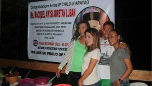 APAYAO'S PRIDE. Friends came to congratulate Racquel Luban (far right) as she clinched 10th place in the March 2017 Licensure Examinations for Teachers (LET) in the Secondary Level. Luban, a licensed pharmacist and an IP (Indigenous People) is a consistent achiever since elementary. By GERRIAHZON S. SEBASTIAN